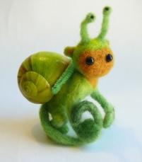 Green Banana Snonkey, needle felted