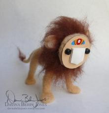Needle felted masked lion